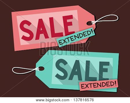 Illustration Featuring Price Tags with the Words Extended Sale Written on It