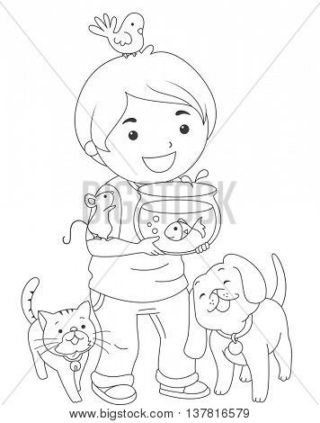 Black and White Coloring Page Illustration of a Boy Carrying Pets