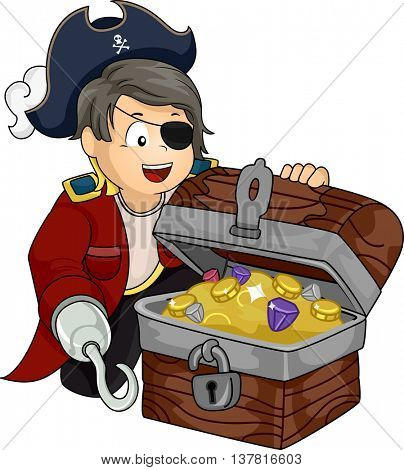 Illustration of a Boy Dressed as a Pirate