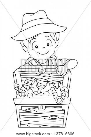 Black and White Coloring Page Illustration of a Boy Opening a Treasure Chest