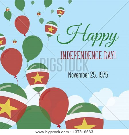 Independence Day Flat Greeting Card. Suriname Independence Day. Surinamer Flag Balloons Patriotic Po