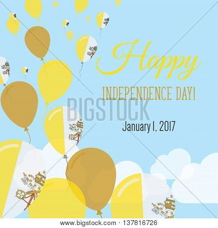 Independence Day Flat Greeting Card. Holy See (vatican City State) Independence Day. Italian Flag Ba