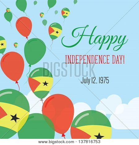 Independence Day Flat Greeting Card. Sao Tome And Principe Independence Day. Sao Tomean Flag Balloon
