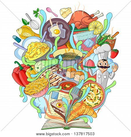 vector illustration of Book of Knowledge for Cookery