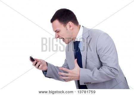 Business Man Screaming At The Phone