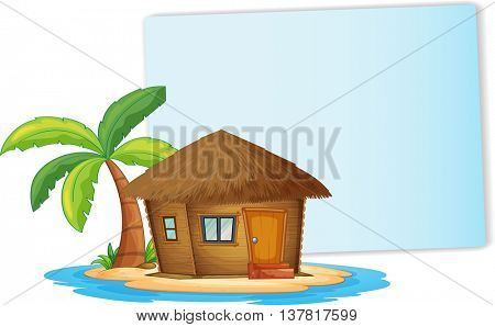 Paper design with bungalow on the island illustration