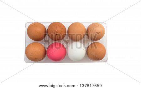Fresh Eggs white pink and brown chicken eggs on White Background Package of eight chicken eggs for meal or other health food.