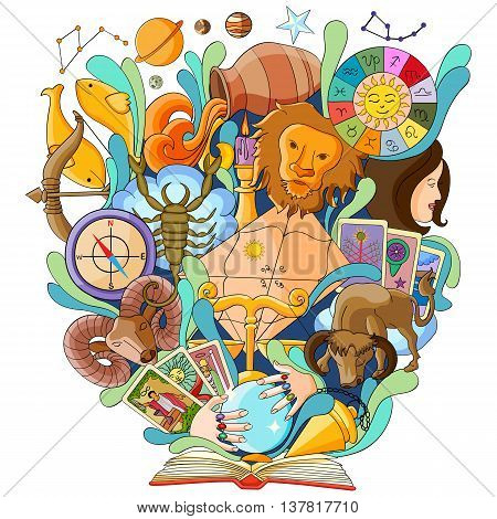 vector illustration of Book of Knowledge for Astrology