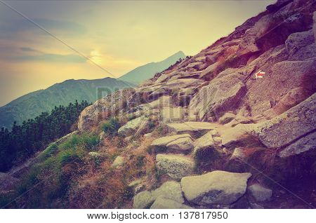 Summer mountain landscape at sunset in vintage style. Mountain trail and peaks.