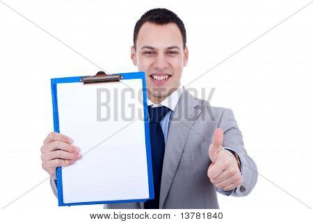 Businessman Presenting A Clipboard