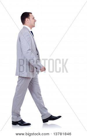 Business Man Walking Forward - Side View