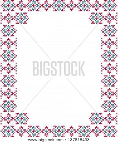 Frame blue pink patterns on canvas abstract embroidery
