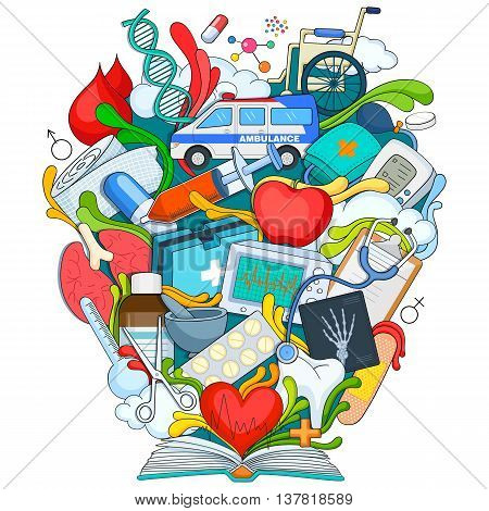 vector illustration of Book of Knowledge for Medical Science