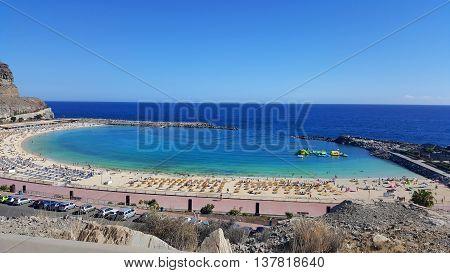 Playa de Amadores beach near Puerto Rico town. Gran Canaria Canary Islands. Spain