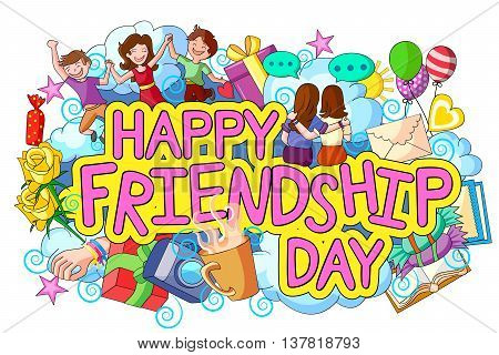 vector illustration of Happy Friendship Day doodle