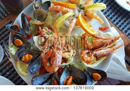 a beautiful and delicious dish of seafood