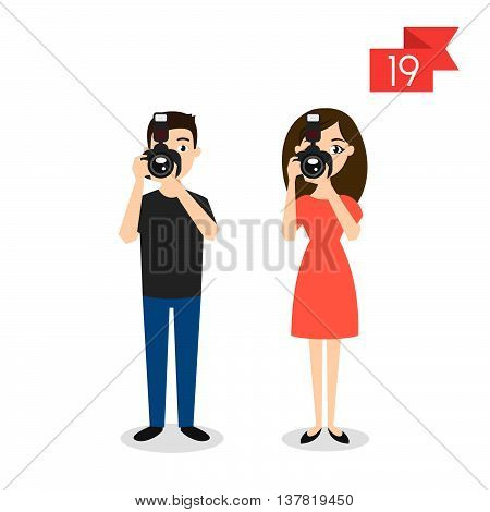 Vector profession characters: man and woman. Photographer.