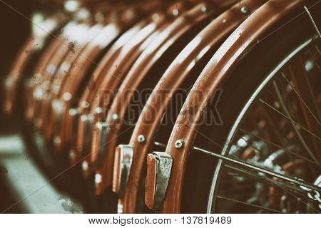 bicycle wheels effect retro vintage style blur and nosie .