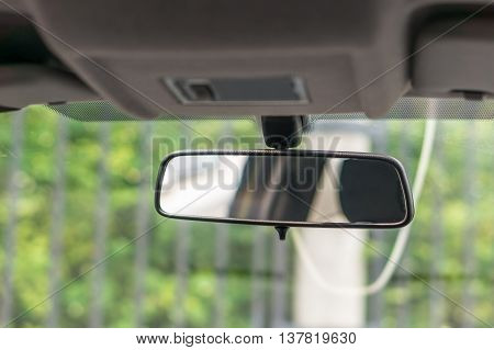 Big rearview mirror inside the new car