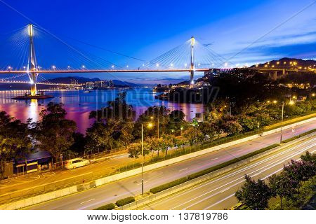 Ting Kau suspension bridge in Hong Kong at night