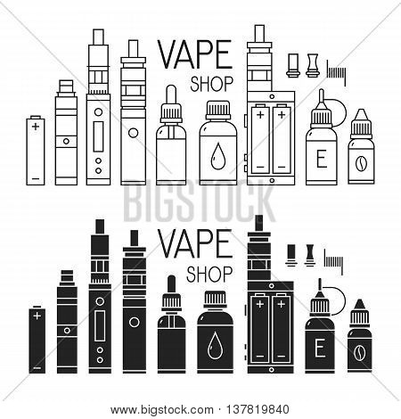 Vector icons of vape and accessories for vape shop e-cigarette store. Isolated on white background.