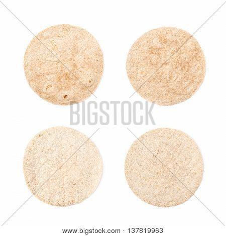 Single wheat tortilla bread isolated over the white background, set of four different foreshortenings