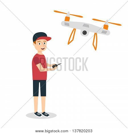 Vector illustration of young happy man with quadrocopter or drone. Air drone hovering in the sky.