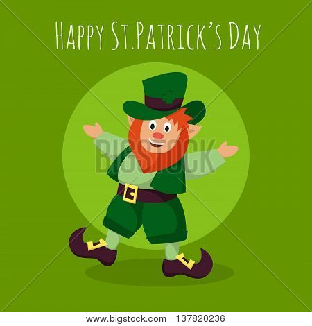Vector Happy St.Patrick's Day greeting card with happy Leprechaun on green background.