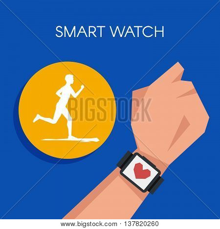 Vector illustration of Fitness tracker or smart watch wearable technology.