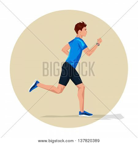 Vector illustration of Active sporty young running man athlete with smart watch. Sport health fitness loss weight cardio training workout and wellness concept.