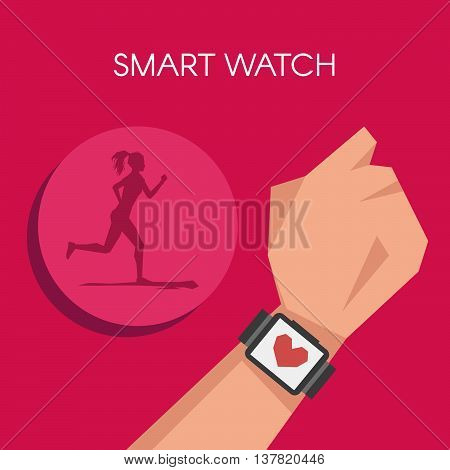 Vector illustration of Fitness tracker or smart watch wearable technology. Silhouette of running woman.