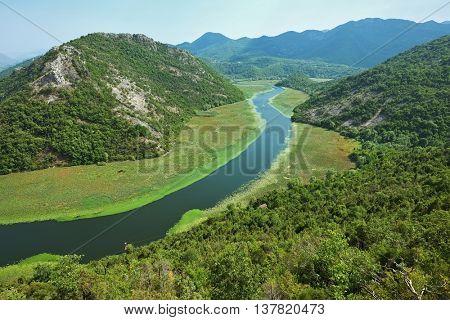 Montengro Rver flows in Skadar Lake National Park