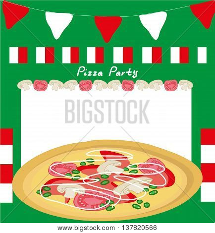 Pizza party poster menu card , vector illustration
