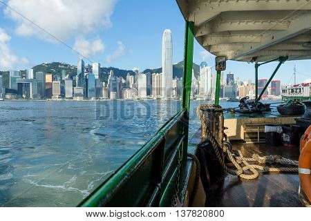 Ferry on the Victoria Harbour in Hong Kong