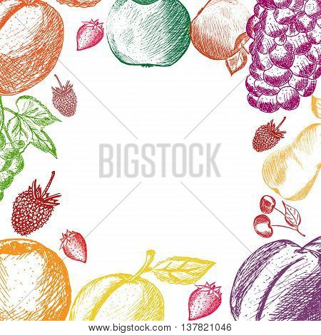 Healthy Food hand drawn background. Fruits and berries background. Apple apricot plum strawberry raspberry pear cherry peach grape hand drawn. Eco raw organic natural. Vector illustration