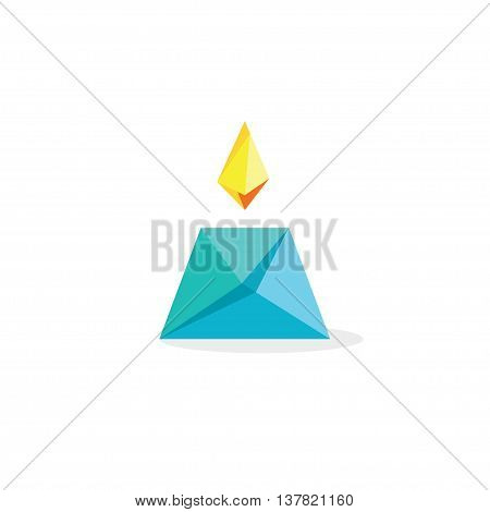 Candle flame vector abstract paper style logo, geometric vector candle symbol isolated on white background