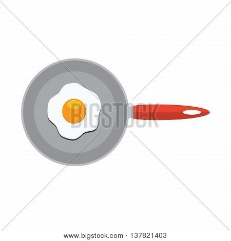 Fried egg in frying pan. Flat color style vector Icon. Cute icon for restaurant or cafe menu design.