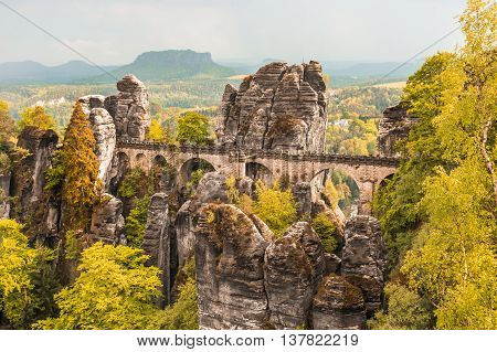 Bastei Bridge In Saxon Switzerland In Autumn