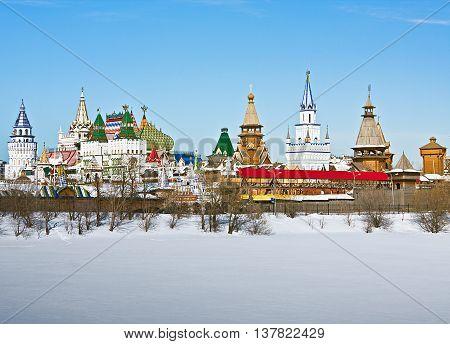 view winter Izmailovo Kremlin in Moscow Russia
