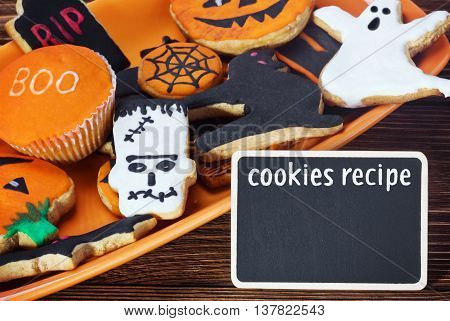 cookies for Halloween and the inscription cookie recipe