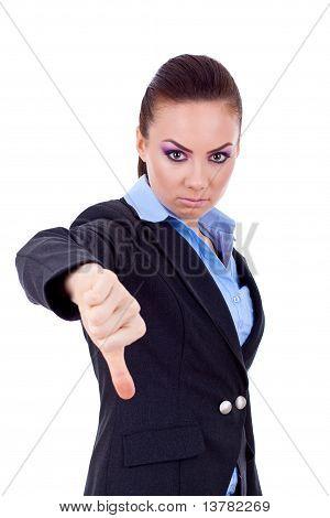 Business Woman Gestikulieren Daumen nach unten