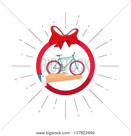 Bicycle gift vector badge icon with hand holding bycicle, heart bow symbol, happy, delivery service shop concept, flat illustration isolated on white, bike modern label design sticker, ribbon, emblem