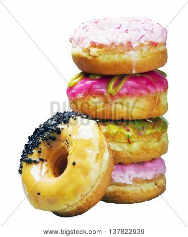 Glazed donuts in an assortment isolated on white background