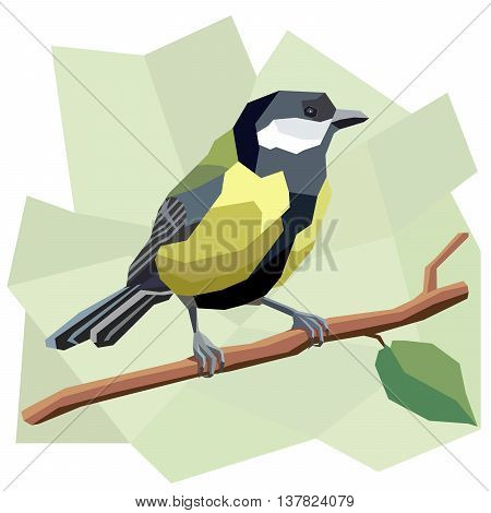 Vector simple illustration of great tit bird on tree branch in angular cartoon style.