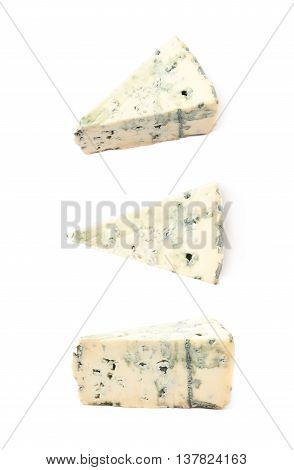 Blue roquefort cheese isolated over the white background, set of three different foreshortenings