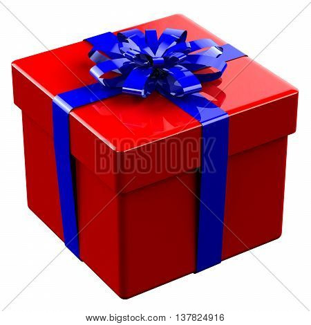Red gift box tied blue with a bow isolated on white background. 3D rendering.