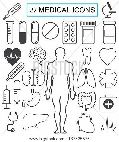 Twenty-seven medical vector icons. Isolated. Gray on a white background.