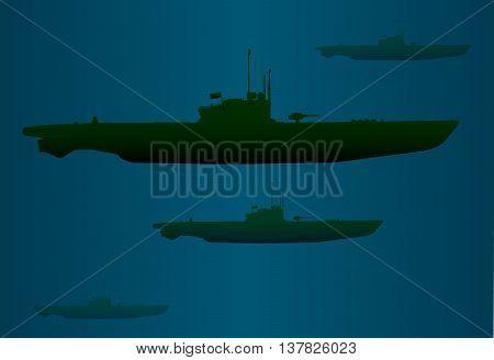 A typical German World War 2 U boat submarine wolf pack