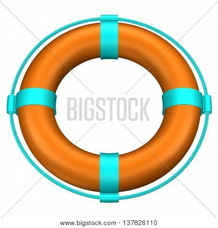 Lifebuoy with stripes and rope isolated on white background. 3D rendering.