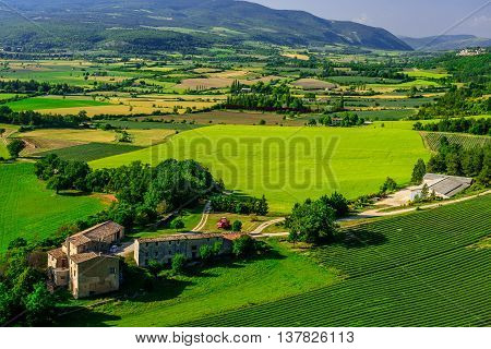 Provence landscape. View on the fields and farmhouses